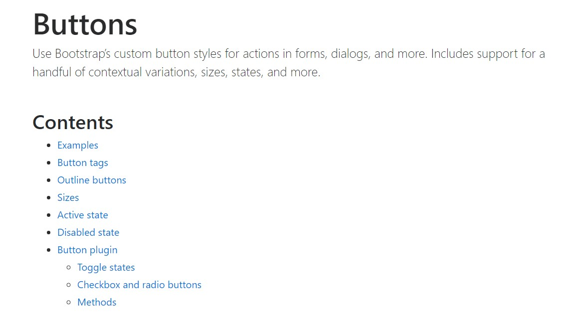 Bootstrap buttons  formal  information