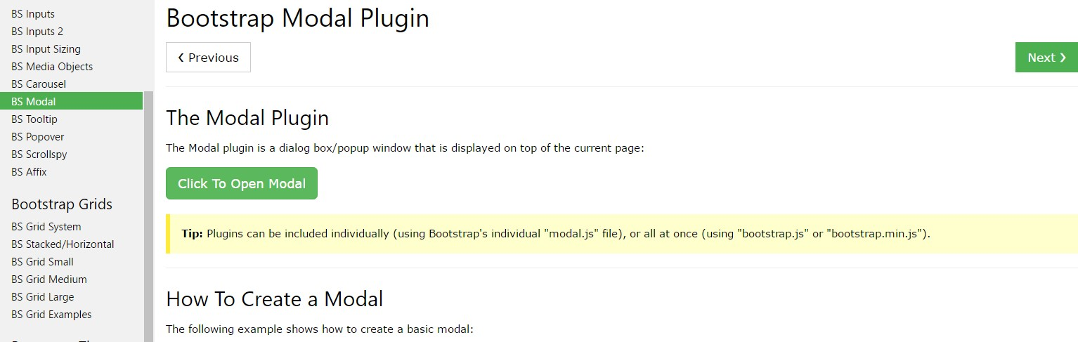 Bootstrap Modal Popup:  article  training