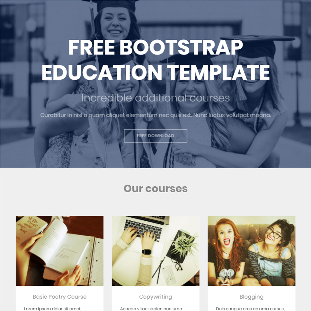 CSS3 Bootstrap Education Templates