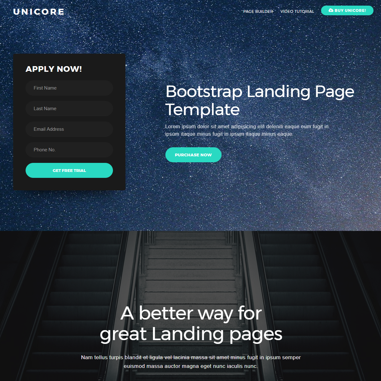 CSS3 Bootstrap One Page Themes