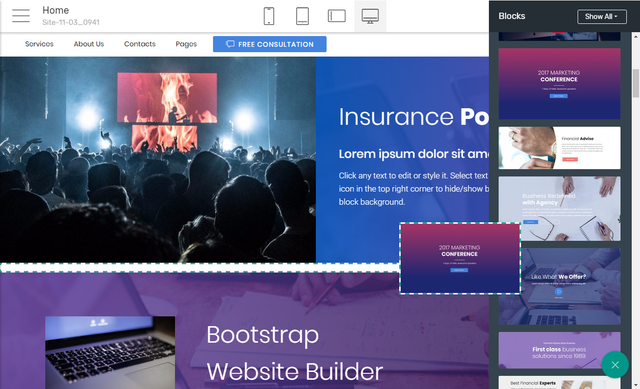 Responsive Landing page Software