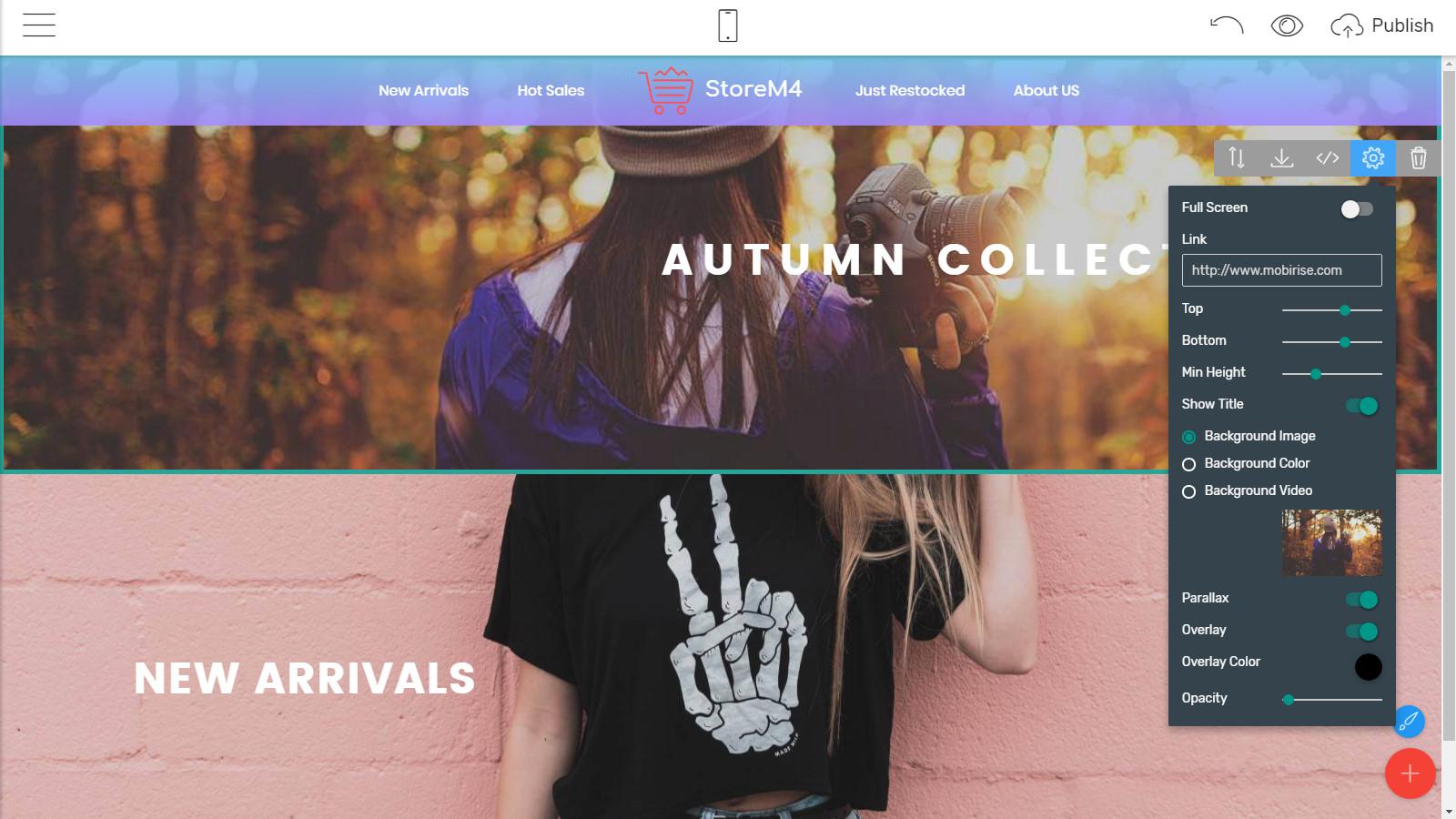 mobile webpage themes